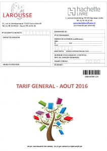 Tarif août 2016